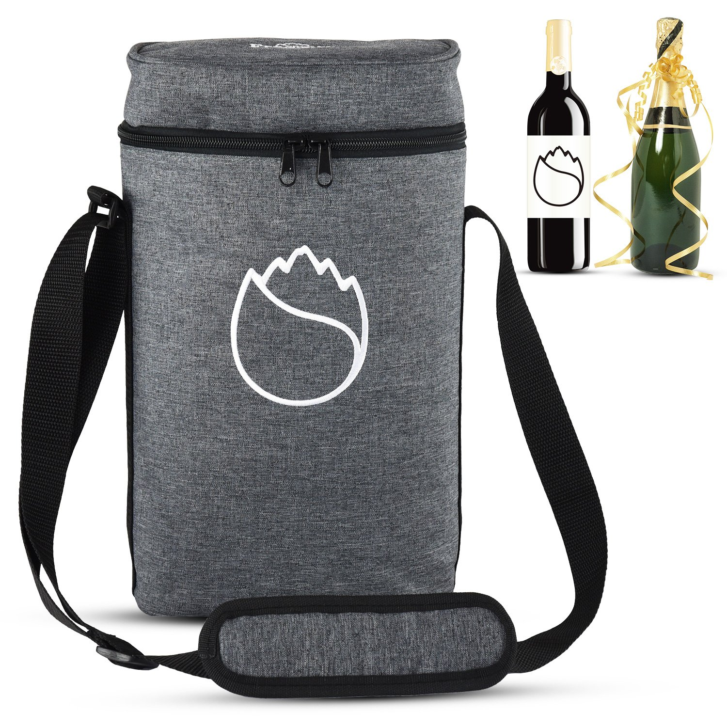 Freshore 2 Bottle Wine Set Insulated Bag As Gift Firmly Store Two Corkscrew And Cheese - Fashionable Design For Cooler Restaurant With Adjustable Strap (Classical Gray)