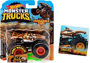 Monster Truck Tiger Shark with Crushable Car and Tiger Shark Sticker. 2-Piece Bundle.