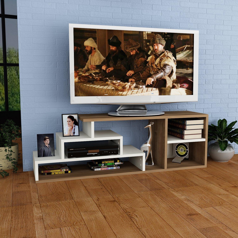 LUCA Meuble TV bas - Blanc - Noyer - Moderne Salon Ensemble de Meubles avec étagère murale au design élégant