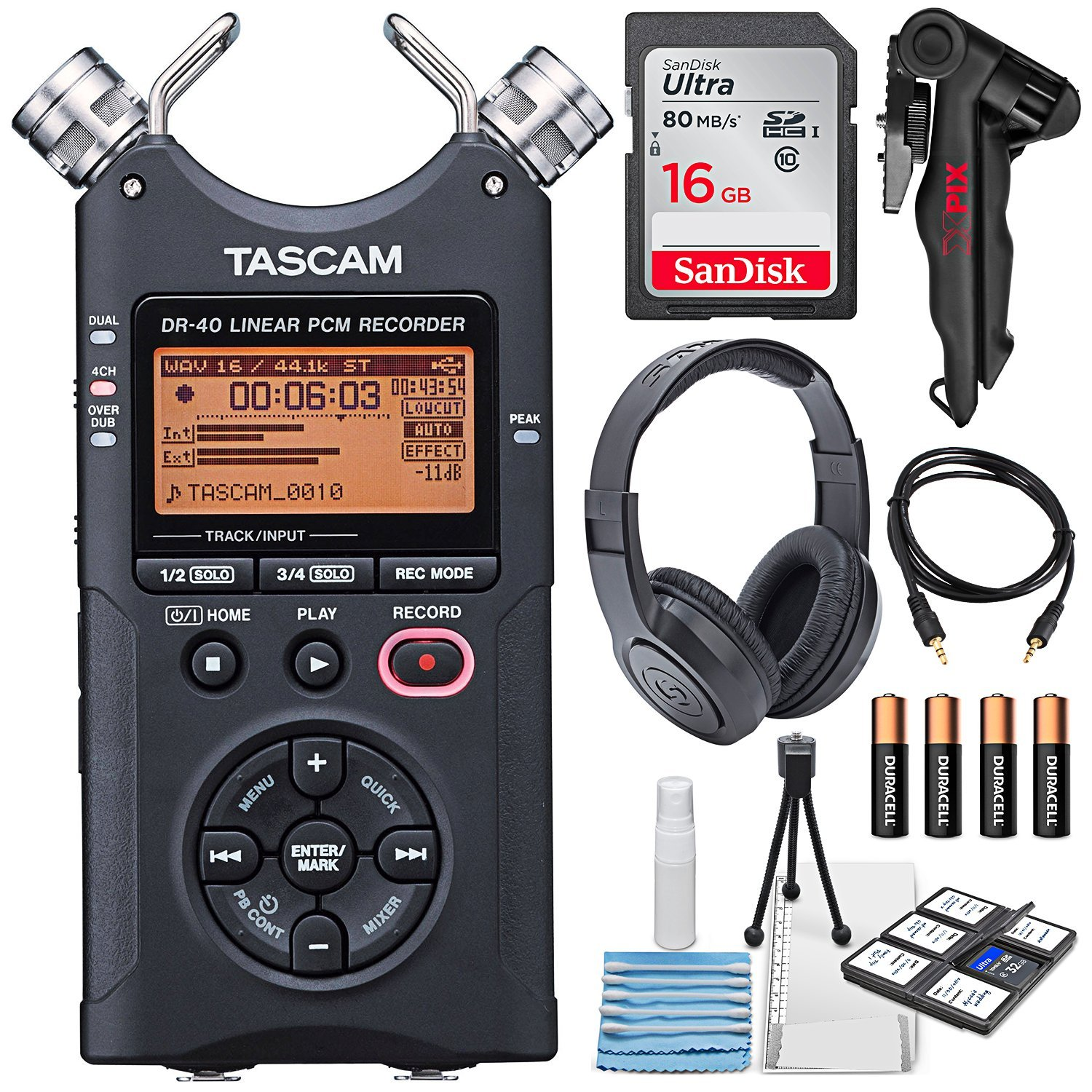 Tascam DR-40 4-Track Handheld Digital Audio Recorder with Deluxe Accessory Bundle and Cleaning Kit