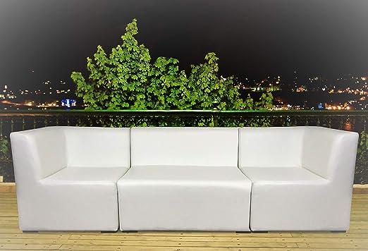 SuenosZzz Conjunto Jardín, Sofá de jardín, Sillón Doble + Sofa rinconera X2 Unid. Muebles de terraza. Sillones de Jardin de Madera, Sillon tapizado Modular Blanco, Piel Sintetica, Butacas Chill out: Amazon.es: Jardín