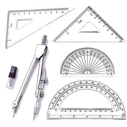 .com : student drawing compass math geometry tools (5 pcs ...