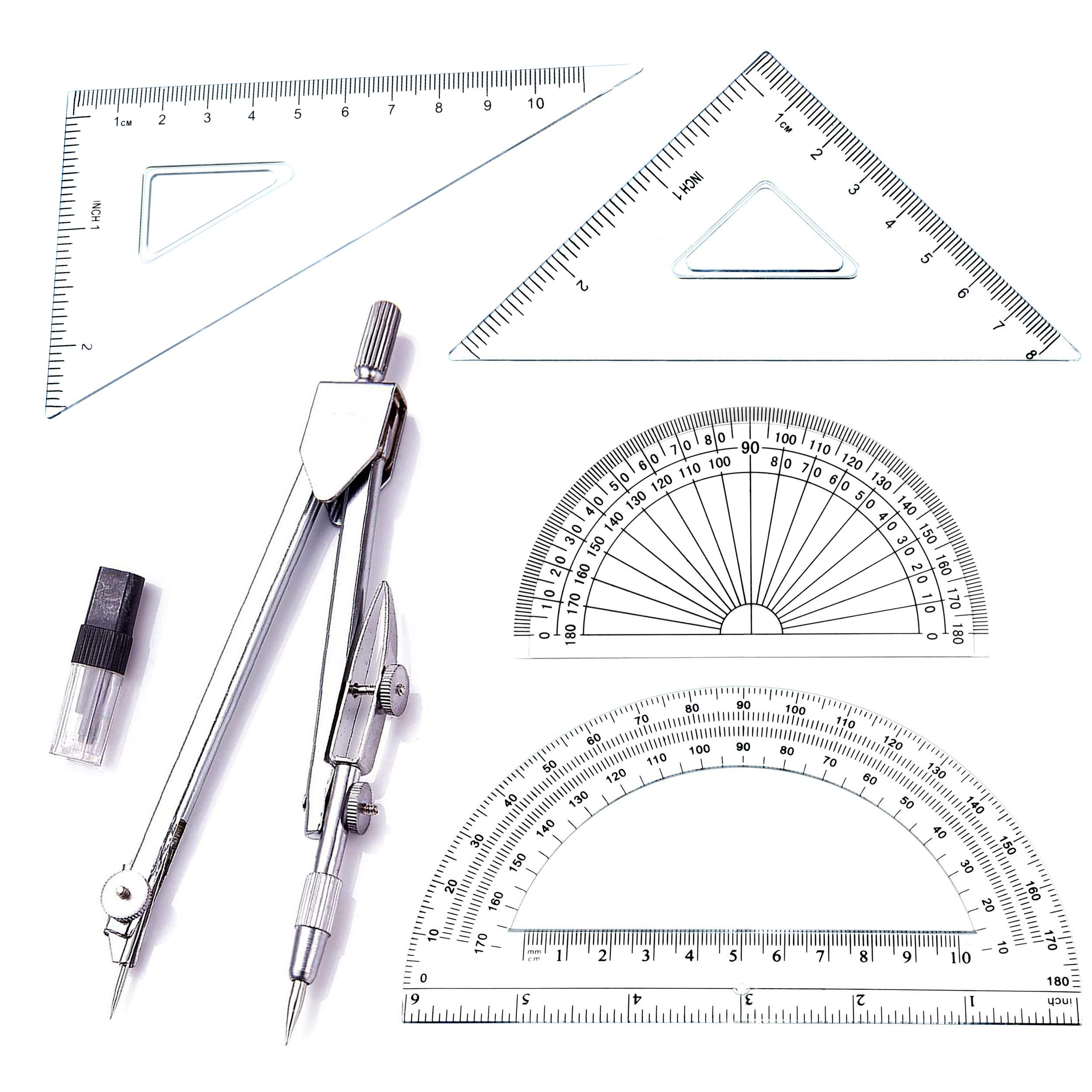 Student Drawing Compass Math Geometry Tools (5 pcs-Compass-Silver)
