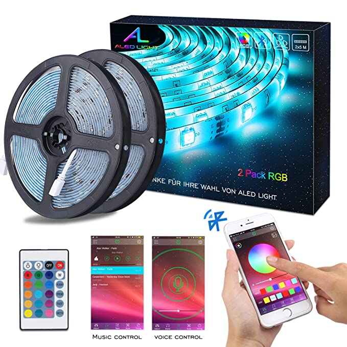 Bluetooth LED Streifen, ALED LIGHT 10M (2x5m) 32,8Ft Wasserdicht IP65 RGB 5050 300(2x150) LED Stripes mit Smart Bluetooth Kon