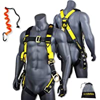 KwikSafety (Charlotte, NC) SUPERCELL Safety Harness | ANSI OSHA Full Body Personal Fall Protection |1 Dorsal Ring 2 Side D-Rings Grommet Tongue Buckle Straps Tool Lanyard Construction Tower Roofing