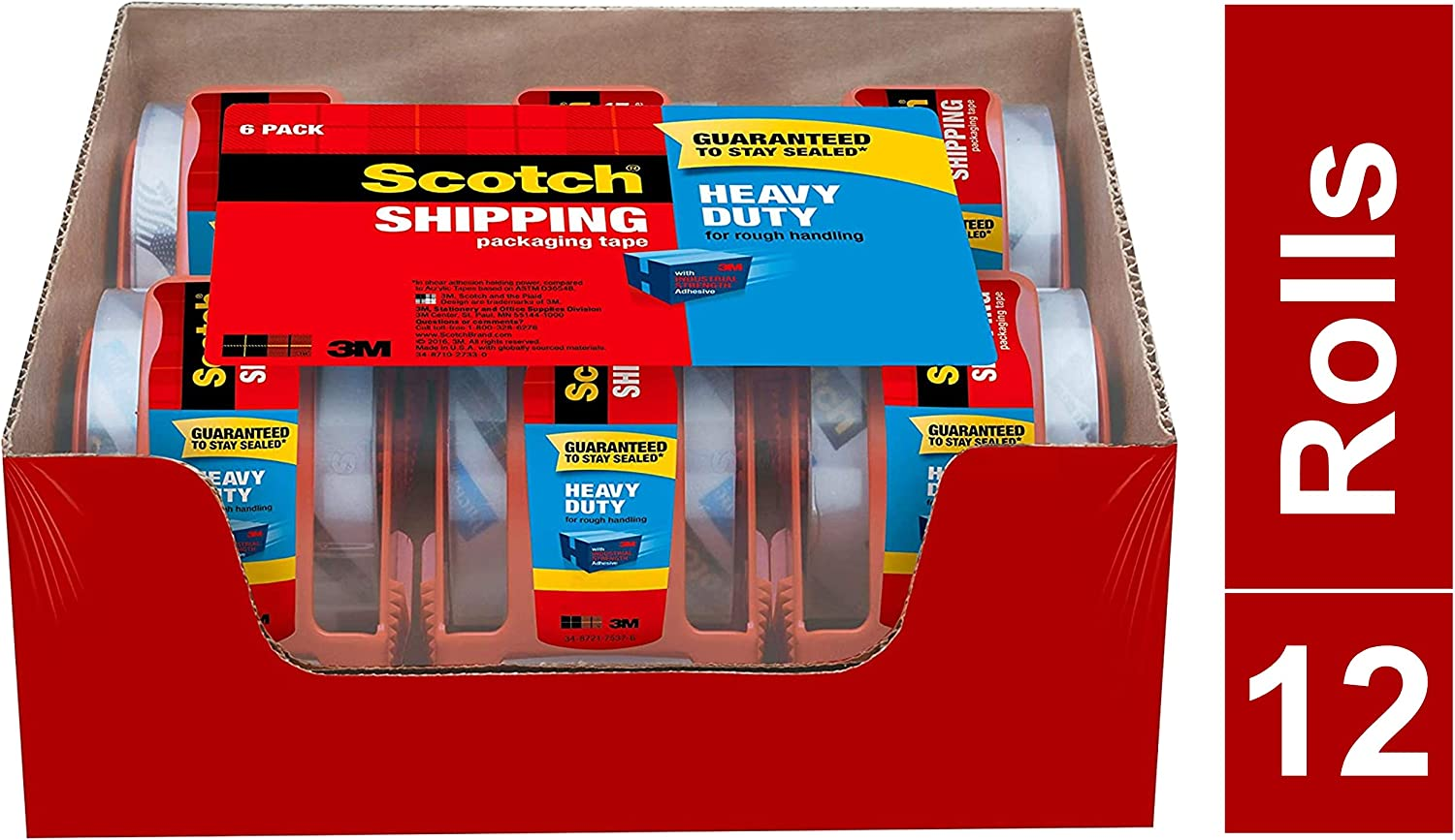 """1.88 Inches x 800 Inches Tape Heavy Duty Shipping Packaging Tape 1.5/"""" Core"""
