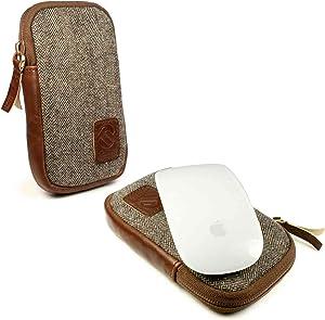 Tuff-luv Herringbone Tweed Travel Case for Magic Mouse 1 & 2 - Brown