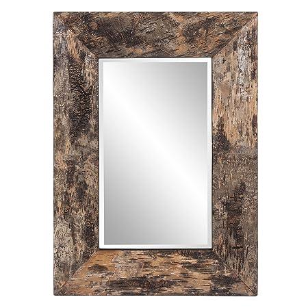 Howard Elliott Kawaga Rectangular Hanging Wall Mirror, Natural Rustic Lodge Style Birch Bark Frame, 26 x 36 Inch