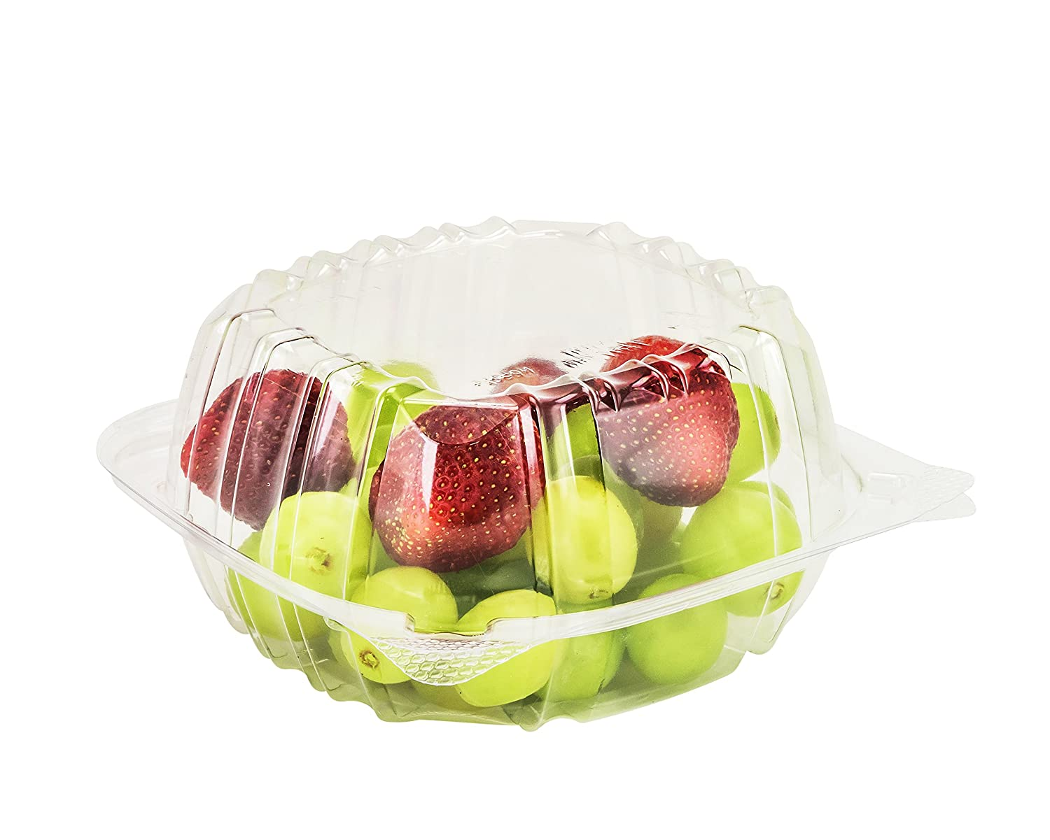 SafePro 6x6x3 Clear Hinged Lid Plastic Container, (CASE OF 50), Polyethylene Terephthalate Square Cold Clamshell Container + Skewers