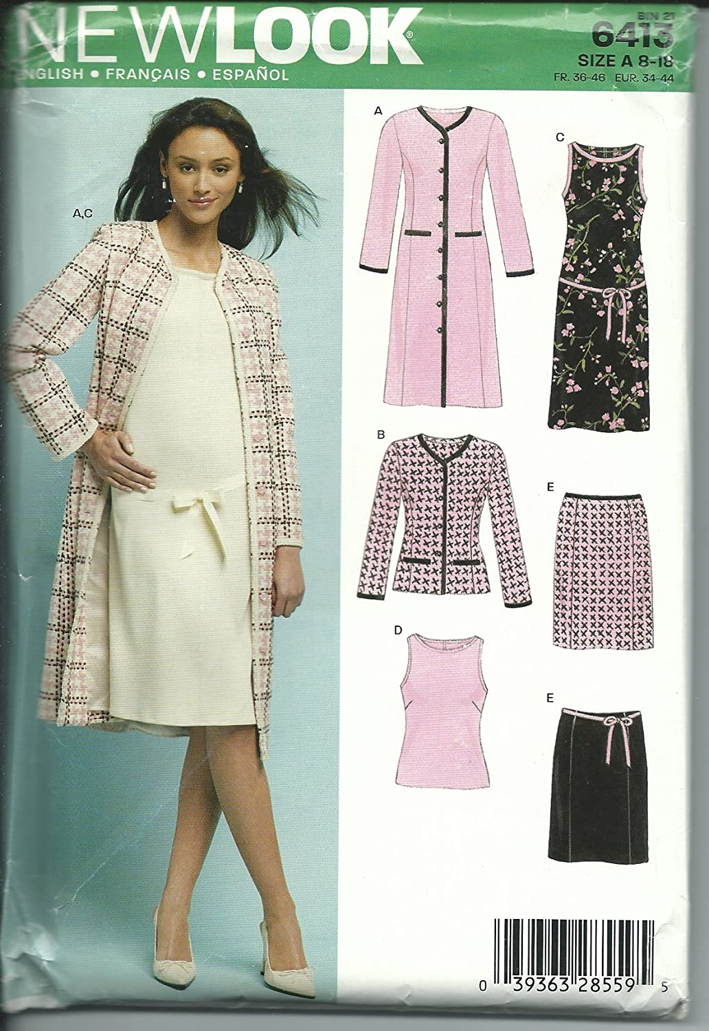 New Look 6413A Sewing Pattern Misses Jacket Skirt Top Size 8-18 by New Look   B00CXMAY5O