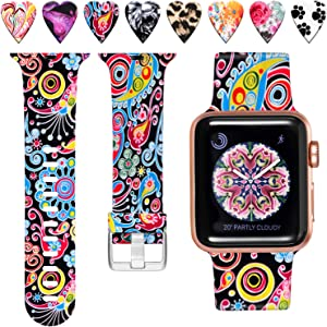 Laffav Band Compatible with Apple Watch 40mm 38mm, Soft Replacement Pattern Bands for iWatch SE & Series 6, Series 5, Series 4, Series 3, Series 2, Series 1, Colorful Jellyfish, M/L
