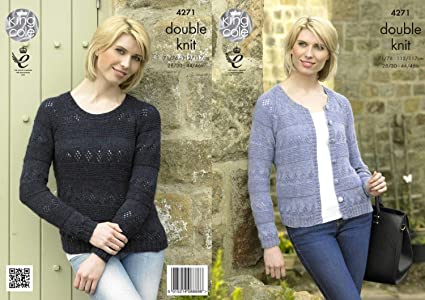 1bb24b6eba30d Image Unavailable. Image not available for. Colour  King Cole Ladies Double Knitting  Pattern Womens Round Neck Sweater   Cardigan Panache DK ...