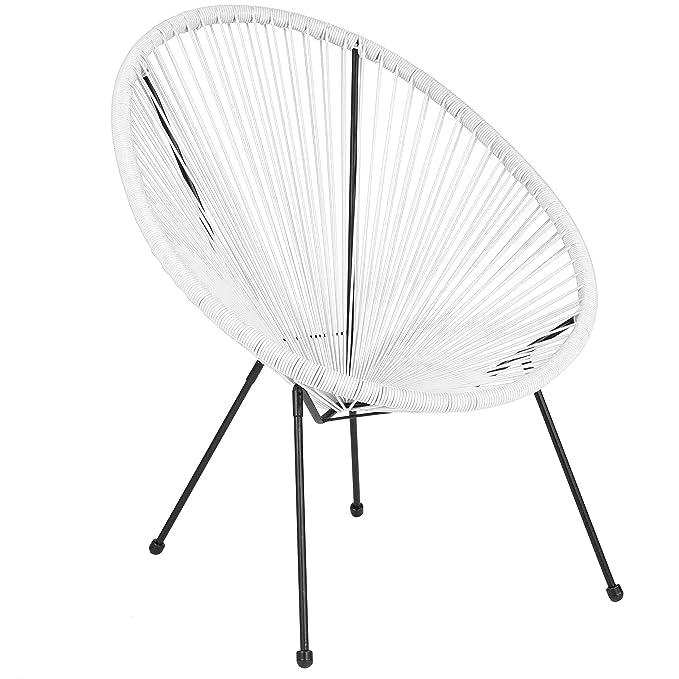 Amazon.com: Silla de salón de ratán blanco Oval Comfort ...