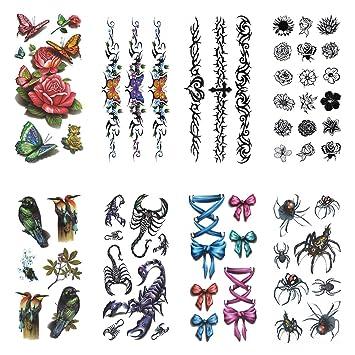 COKOHAPPY Temporales Tatuaje 8 Diferente hoja Araña Escorpión Flor ...