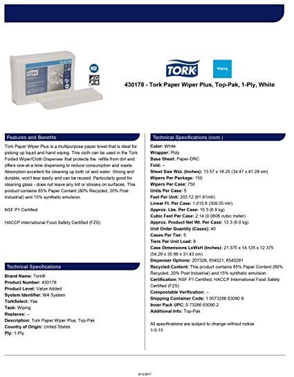 Tork 430178 Paper Wiper Plus, Top-Pak, 1-Ply, 13.57