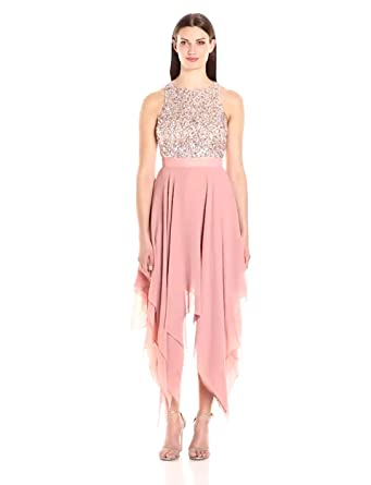 Aidan by Aidan Mattox Women's Beaded Draped Dress, Rose, 0