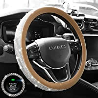 KINGMAS Diamond Leather Steering Wheel Cover for Women Girls, with Crystal Rhinestones, Universal Fit 15 Inch Car Wheel…