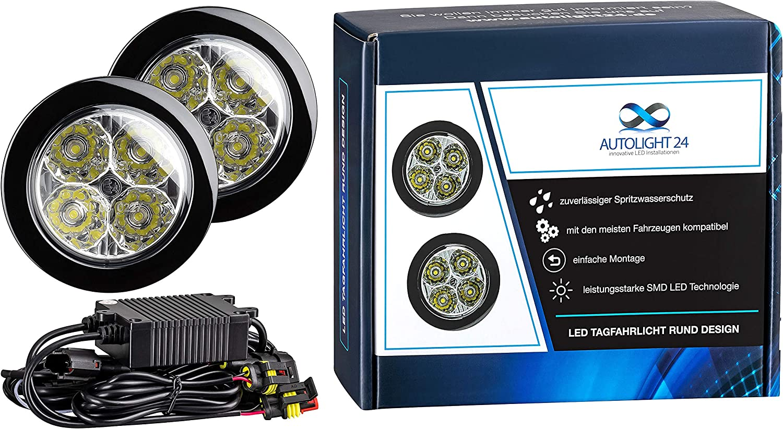 Autolight 24 Led Tagfahrlicht Rund Design 12v 8 X Smd Leds TÜv R87 Modul V60 Elektronik