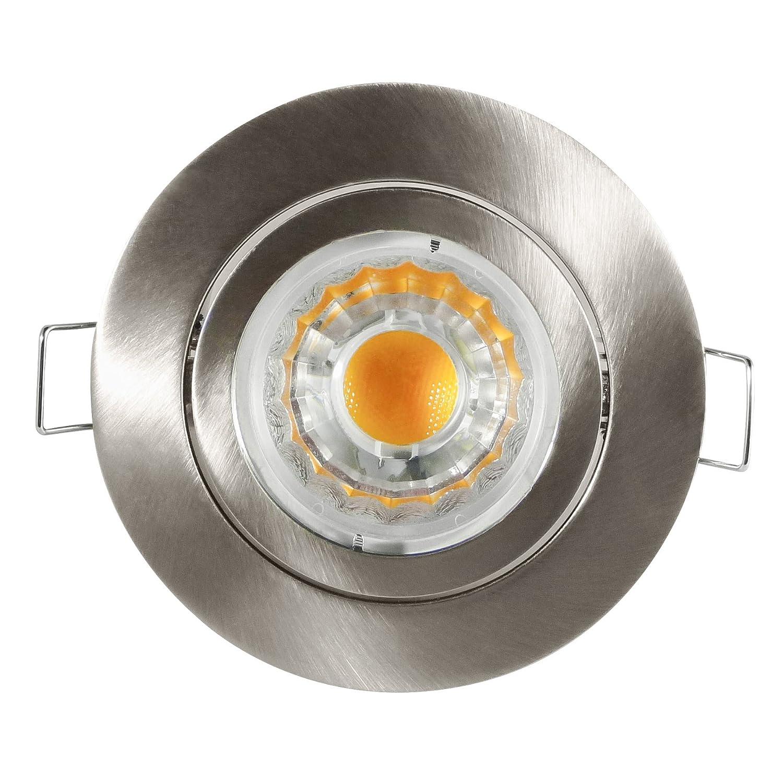 Encastrable, Spot Pluto–Nickel brossé–6W Verre–490Lumen Blanc froid–230V/GU10–4x cob LED