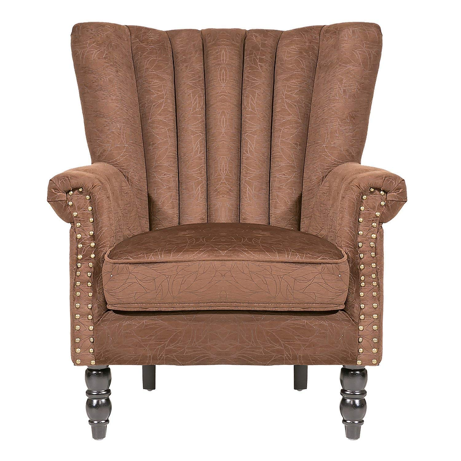 Amazon com furniture accent chairupholstered arm chairs with suede fabric and wooden legs for living roombrown kitchen dining