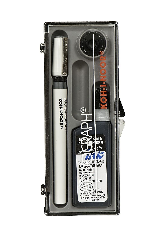 1 Set Each Koh-I-Noor Rapidograph Pen and Ink Set.5mm Pen Nib and .75 oz Bottle of Ultradraw Black Ink 3165BX.1