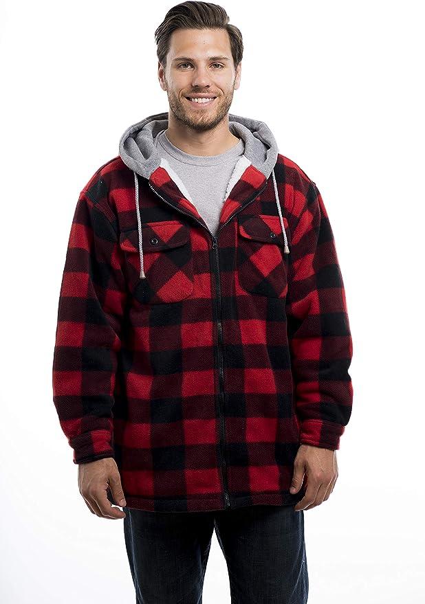 ThCreasa Womens Sherpa Fleece Lined Hoodie Jacket Plaid Flannel Zip up Hooded Sweatshirt Jackets