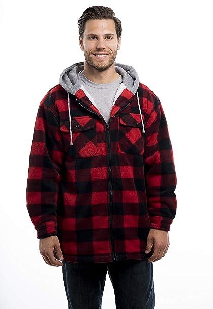 Trailcrest Mens Warm Sherpa Lined Hoodie Fleece Shirt Jacket Classic Zip Up Buffalo Plaid