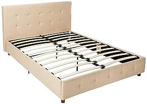 DHP Rose Linen Upholstered Platform Bed, Tan, Queen