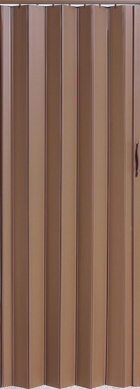 Faltt/ür Schiebet/ür T/ür Kunststofft/ür mahagoni farben H/öhe 203 cm Einbaubreite bis 82 cm Neu