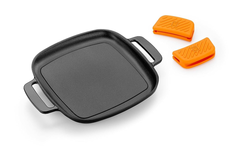 BRA Efficient Iron - Parrilla cuadrada 24 cm, fabricada en hierro fundido esmaltado. Apta para su uso en horno y todo tipo de cocinas, incluída ...