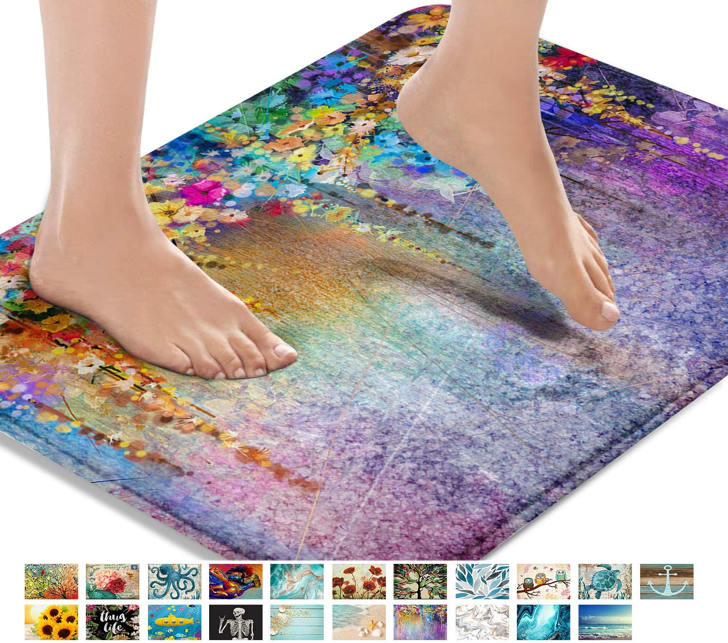 Britimes Bath Mats for Bathroom, Bathroom Mats Rugs No Silp, Colorful Purple Flower Washable Cover Floor Rug Carpets Floor Mat Bathroom Decorations 18x30 Inches for Kitchen Bedroom Indoor