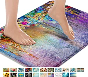 Britimes Bath Mats for Bathroom, Bathroom Mats Rugs No Silp, Colorful Purple Flower Washable Cover Floor Rug Carpets Floor Mat Bathroom Decorations 16x24 Inches for Kitchen Bedroom Indoor