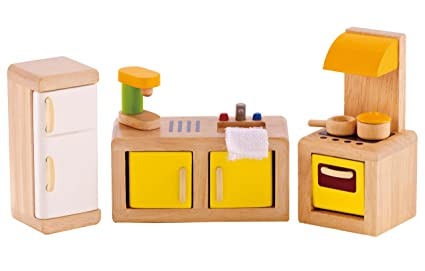 Amazon Com Hape Wooden Doll House Furniture Kitchen Set With