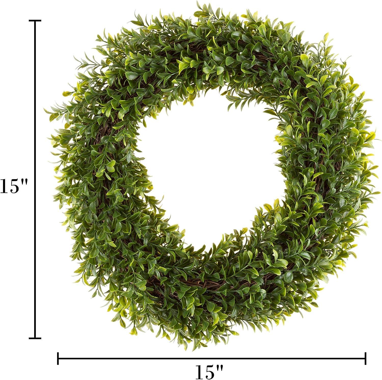 16.5 Zoll Buchsbaumkranz Kunstkranz f/ür die Haust/ür von Pure Garden Home Decor UV best/ändig