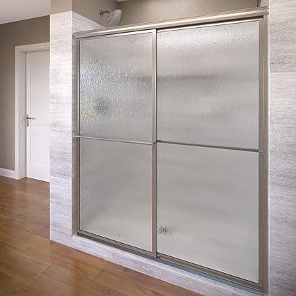 Basco Deluxe Shower Door Framed Rain Glass Sliding Door