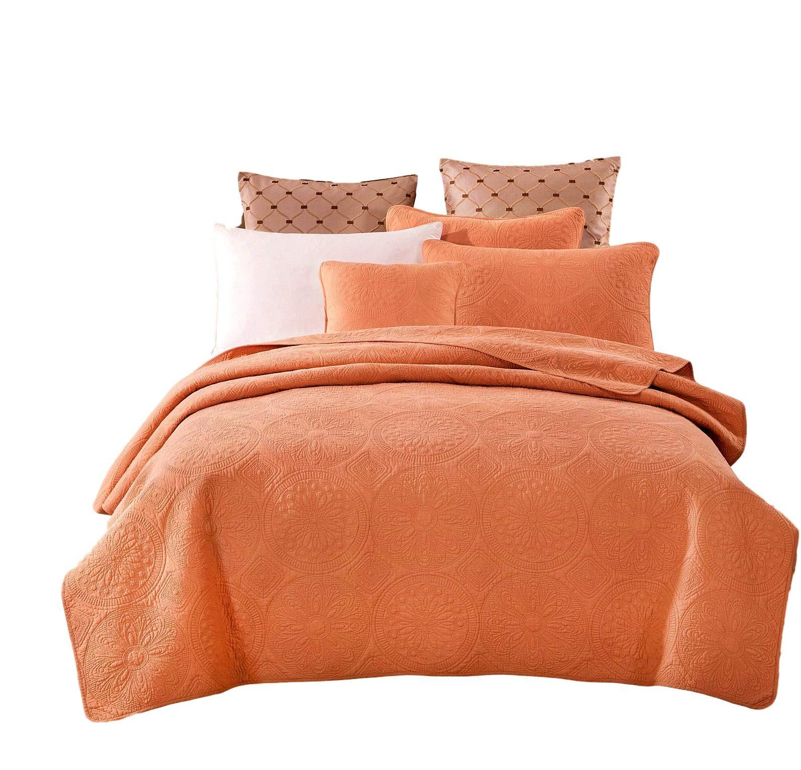 Tache Cotton Matelasse Orange Bedspread - Fall Harvest Solid Quilt Coverlet Set, 2 Piece, Twin