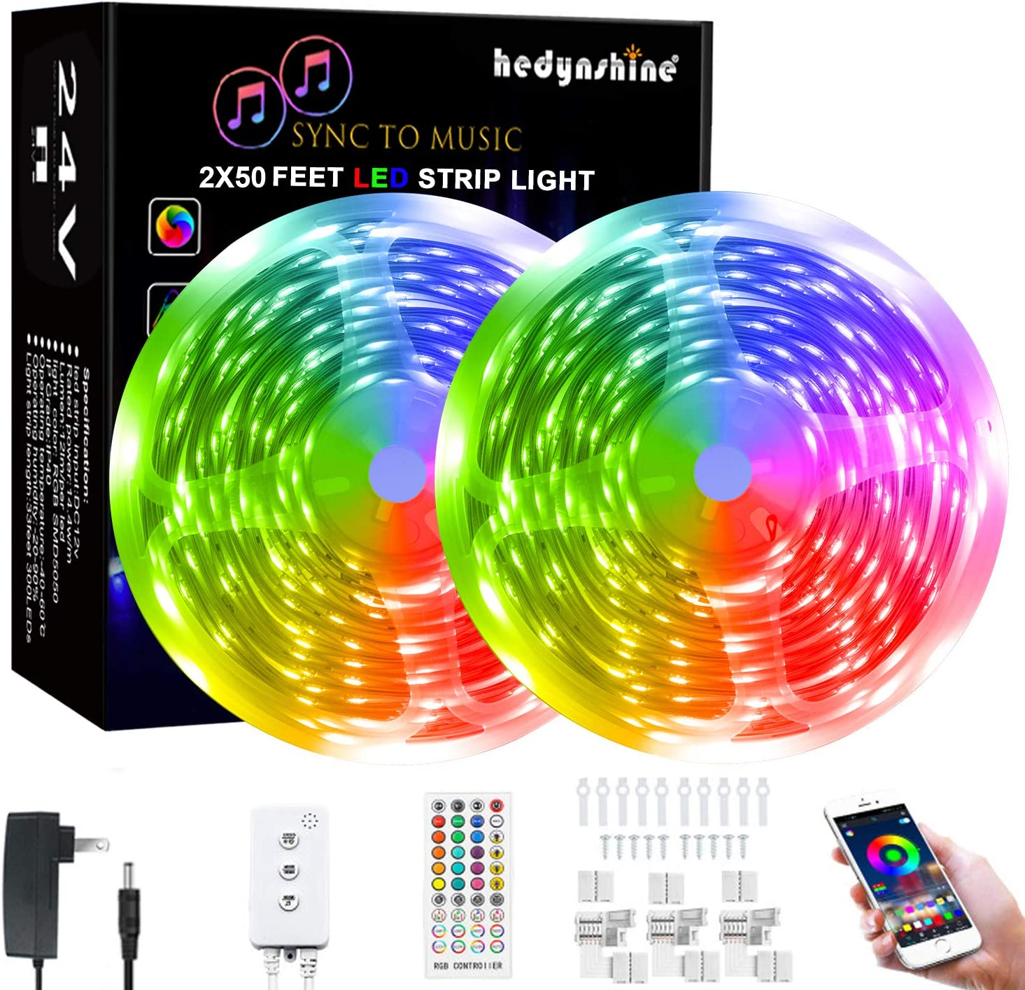 100Ft Smart LED Strip Lights Bluetooth, Hedynshine Dimmable Color Changing by 40Key Remote Controller Ultra Long Strip Lights, Sync to Music Light Strips 100feet