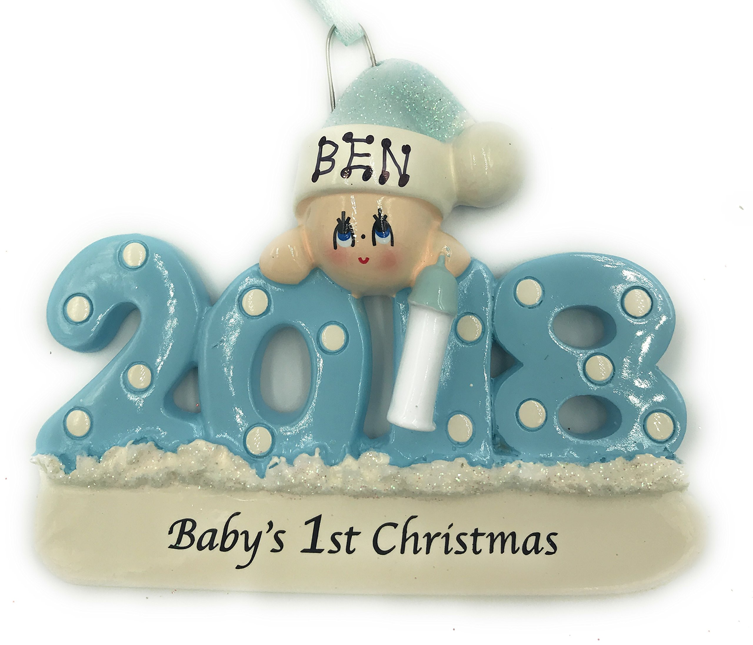 Personalized Baby's First Christmas Ornament 2018 - Blue/boy - Free Personalization …