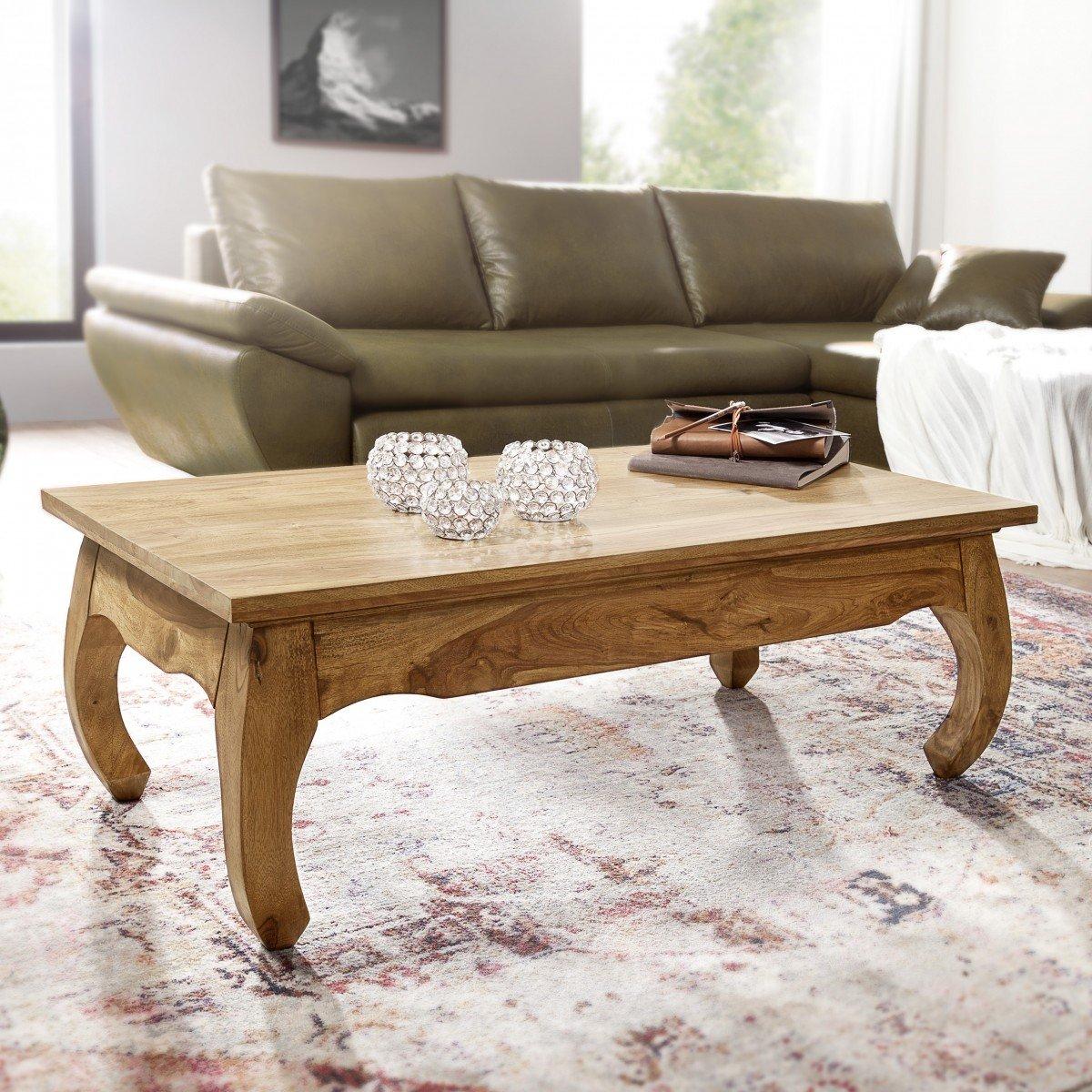 FineBuy Couchtisch Massiv-Holz Akazie 110 cm breit Wohnzimmer-Tisch ...