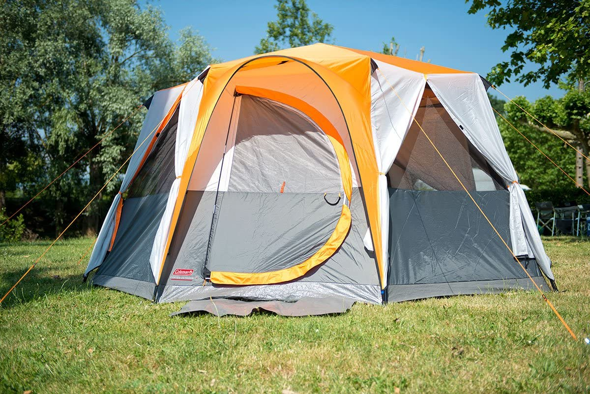 Coleman Tent Octagon Waterproof Family Camping Tent with Sewn-in Groundsheet 6 to 8 Man Festival Dome Tent