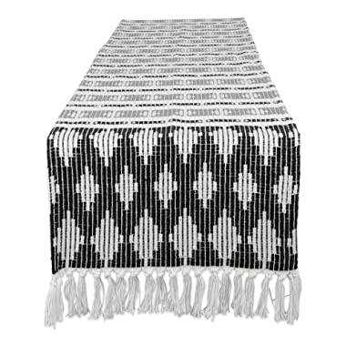DII CAMZ11274 Braided Cotton Table Runner, Perfect for Spring, Fall Holidays, Parties and Everyday Use 15x72 Black