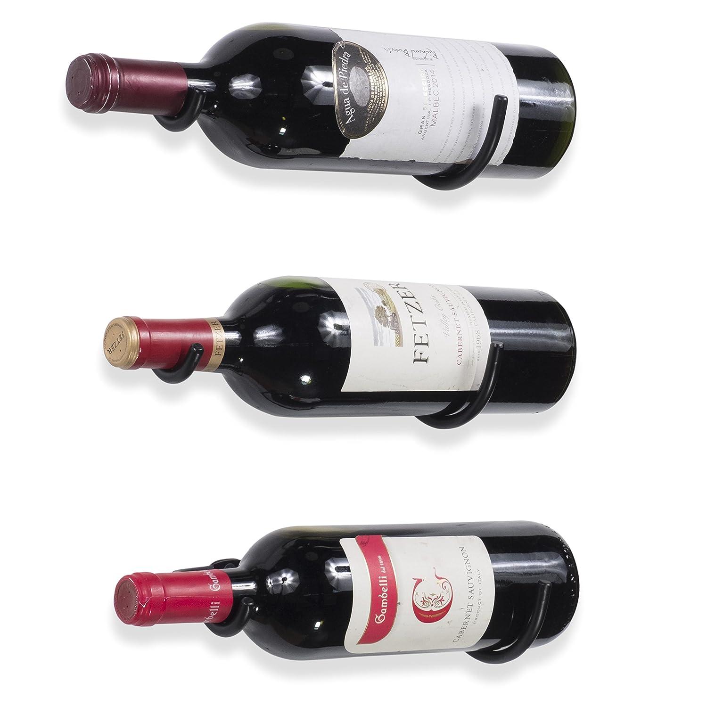 Rustic State Wall Mount Iron Wine Bottle Holder Rack for All Adult Beverages or Liquor Set of 3 Black