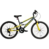 "Falcon Neutron Boys' Mountain Bike Grey/Yellow, 15"" inch steel frame, 18-speed front and rear suspension system powerful front and rear v-brakes"