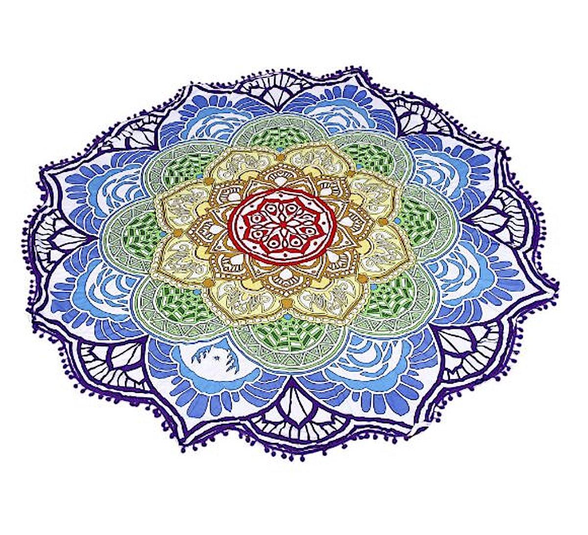 BlueBD , Toalla Manta, Playa, Yoga, Esterilla de Yoga, Lotus, Diseño Mandala Indio, Redondo, Algodón, Mantel Toalla de Playa, Bufanda, II: Amazon.es: Hogar