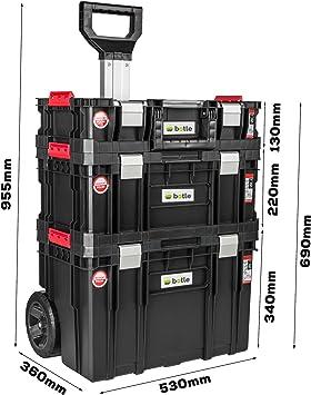 Caja de herramientas con ruedas, 3 cajas apilables, caja de herramientas, capacidad de carga de hasta 100 kg, cierres de aluminio, organizador para piezas pequeñas en la tapa: Amazon.es: Bricolaje y herramientas