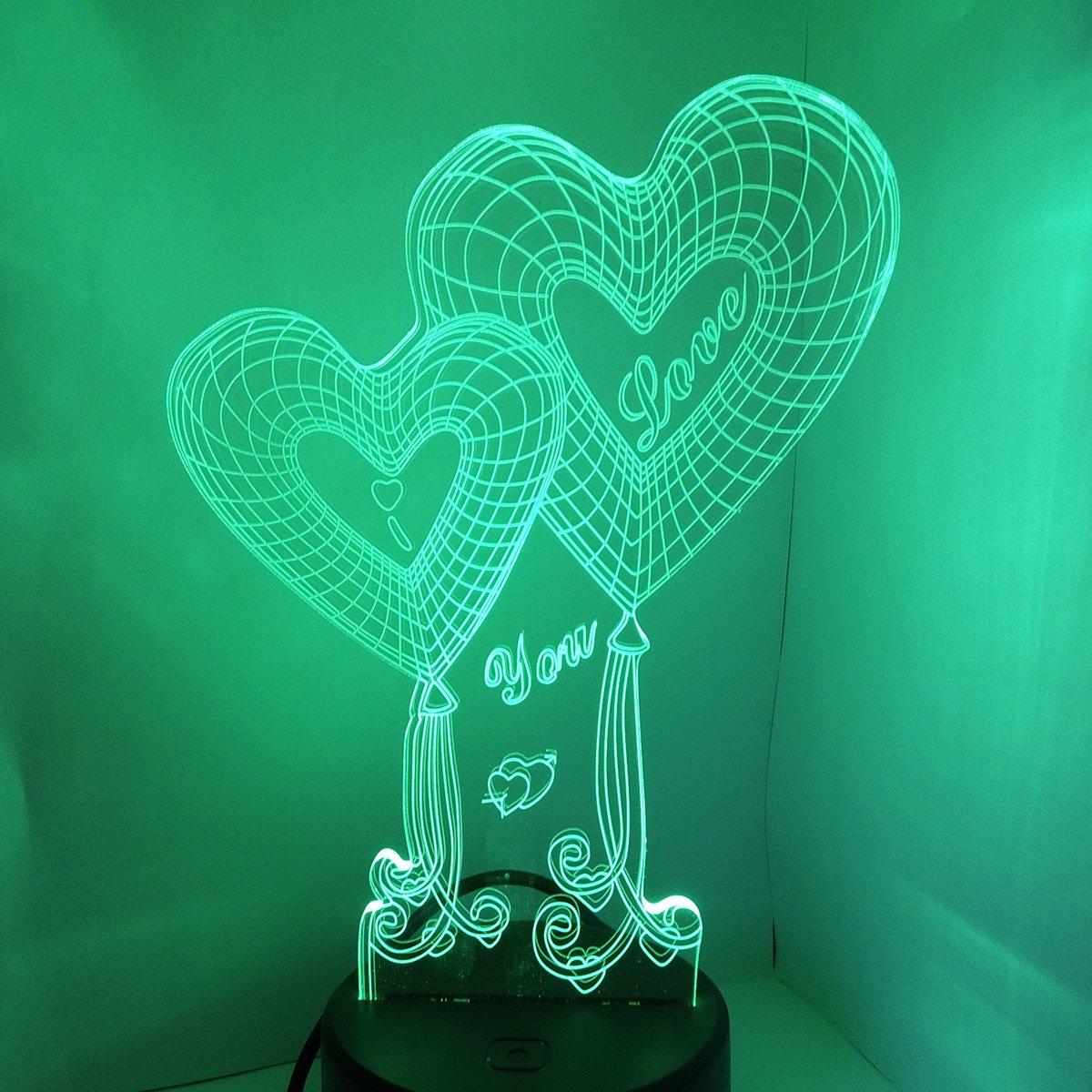 Love Heart Shapes 7 colori che cambiano Touch Switch USB Lampada da tavolo per regali di anniversario Valentines Day lover Gift Dual Heart LEDMOMO 3D Illusion LED Night Light