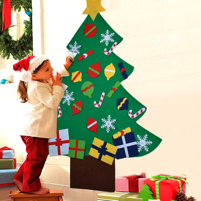 COOFIT Arbol de Navidad de Fieltro DIY con 28pcs Árbol de Navidad para  niños Juguetes educativos 287876de0d799