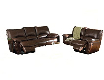 Amazon Com 2pc Recliner Sofa Loveseat Set In Brown Leather Match