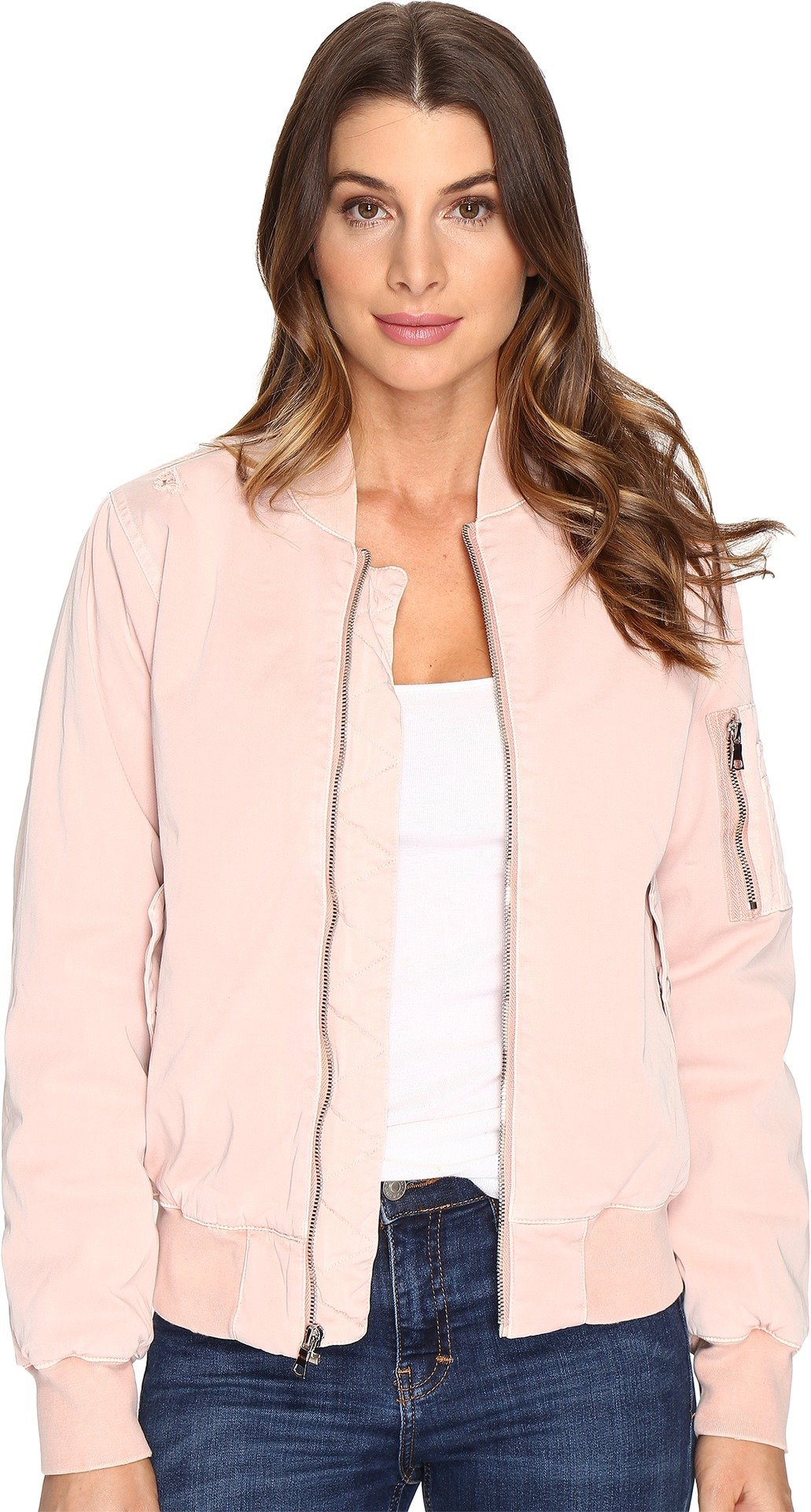 Hudson Jeans Women's Gene Puffy Bomber Jacket, Sun Kissed Pink Destructed, Small