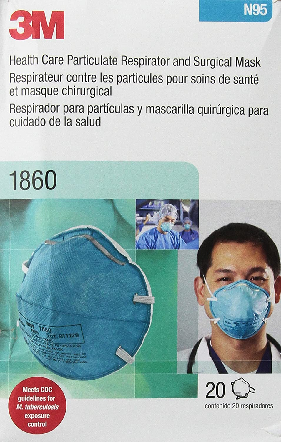 3m 1870 medical mask n95 20 count